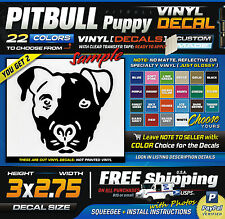 "3""x2.75"" (2) Pitbull Puppy Breed Face Vinyl Decal Sticker FREE SHIP"