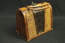 Vintage 1970s Wooden Woven Basket Purse Boho Unique Rare Box Tin Inlay Pattern