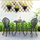 3 Piece Patio Bistro Furniture Set Outdoor Garden Table Set With Umbrella Hole.