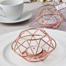12 Geometric Design Rose Gold Metal Tealight Candle Holder Wedding Favors