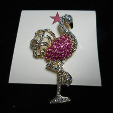 WOW beautiful PINK FLAMINGO pin / brooch   GOLD tone WOW PINK CRYSTAL