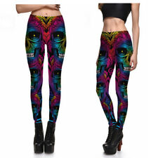 UK NEON SUGAR CANDY SKULL LEGGINGS Psychedelic Gift Idea Yoga Clubbing Fitness