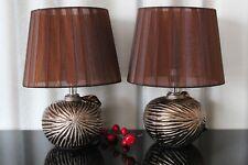 2 Lampen bronze braun Nachttischlampe Leuchte Keramik Tischlampe Tischleuchte