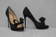 F0 NEW VALENTINO GARAVANI Black Satin Bow Platform Pumps Shoes Size 41 $795