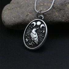 Valknut viking raven necklace Black Bird In Moon Crow Warrior Odin's pendant