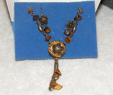 GORGEOUS AVON Goldtone Tiger's Eye Medallion Necklace Earring Set AV3