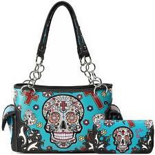 Sugar Skull Day of the Dead Fashion Handbag Women Concealed Carry Purse / Wallet