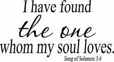 Song of Solomon 3:4 Christian Wall Decal by Bible Verse Wall Art. approx 11 x 22