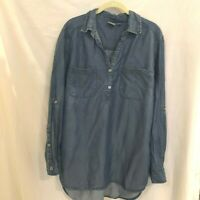 Soho Jeans New York and Co Womens Blouse Chambray Roll Tab Sleeves XL