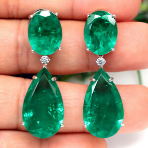 FOREST GREEN DOUBLET EMERALD & CZ TWO DESIGNS EARRINGS 925 SILVER STERLING