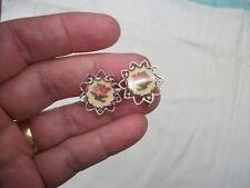 """Vintage Needlepoint Rose Screw Back Earrings Silvertone Metal 3/4"""""""