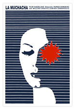"Movie Poster for film""La MUCHACHA""The Girl.Blue stripes design.Modern art decor"
