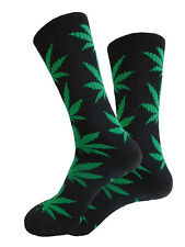WEEDO marijuana socks fashion weed leaf adult size BLACK and  GREEN Cotton socks