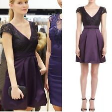 Karen Millen Purple Black Signature Elegant Lace Satin Pleat Skater Dress 14 UK