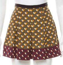 LOUIS VUITTON khaki maroon hearts mini skirt 36 S