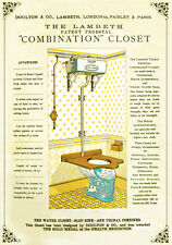19TH C. VICTORIAN DOULTON TOILET WATER CLOSET ADVERTISEMENT  A3 POSTER RE PRINT