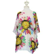 Sunflower Dreams Tunic Poncho Cover-Up Ivory & Multi-Colors