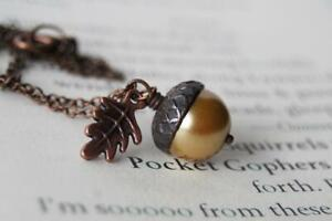 Honey and Copper Pearl Acorn Necklace | Nature Charm Necklace | Woodland Acorn