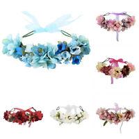 Women Girl Flower Crown Headband Wedding Bridal Floral Veil Hair Wreath Garlands