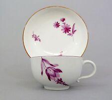 (Ms42) Barocke Meissen Tasse, purpur Blumen, Marcolini Periode 1774-1814, 1.Wahl
