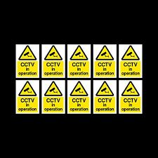 CCTV Sign, Sticker Pack of 10 - 150mm x 200mm (A5) - Security, Camera - (MISC11)
