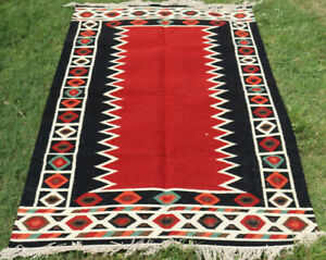 Large Wool Kilim Navajo Southwestern Bohemian Red Rug 5'x8' Handmade Tribal Rug