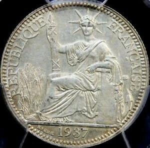 1937 FRENCH INDO-CHINA SILVER 10C  LES-174 ~~ PCGS MS62