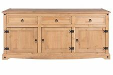 Corona Solid Pine Large Sideboard with 3 Doors 3 Drawers Quality Furniture