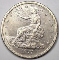 1877-S Trade Silver Dollar T$1 - AU Details - Rare Early Type Coin!