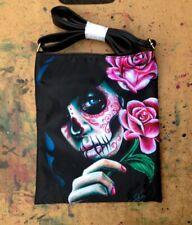 Cross Body Adjustable Shoulder Bag Calavera Sugar Skull Tattoo Art Flash Purse