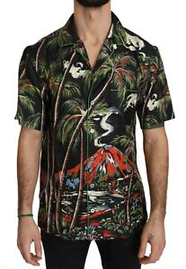 DOLCE & GABBANA Shirt Shortsleeve Silk Jungle Volcano 38 / US15 / XS RRP $1200