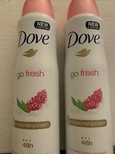 2x Dove Go Fresh Pomegranate & Lemon Verbena Deodorant 48h Spray 150 ml / 5 oz