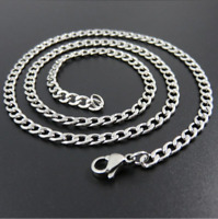"4mm Stainless Steel Mens & Womens Curb Chain - 16"" to 30"" Silver Unisex Necklace"
