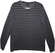 Mens Banana Republic Luxury Touch Long Sleeve Knit  Shirt Gray Strip  Size L