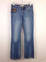 MEK Denim Austin Womens Jeans 28 x 34 Distressed Boot Cut Low Rise Stretch Blue