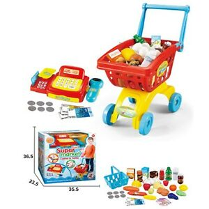 Childrens Red Cash Register Till & Shopping Trolley Kids Role Play Toy Set 6809