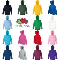 Fruit of the Loom Classic 80/20 Boys Girls Hoodie Hooded Sweatshirt