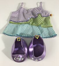 Build A Bear Workshop Girl Clothes And Shoes Set Metallic Sequined Violet Purple