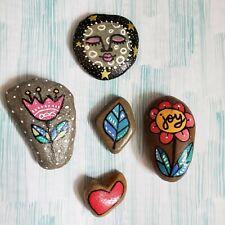 Hand Painted River Rock Stone Moon Heart Leaf ORIGINAL Whimsical Flower Lot Joy