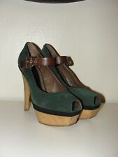MARNI *LOVELY!!GREEN SUEDE LEATHER TRIM PLATFORM PUMPS WOOD HEELS SHOES*7.5