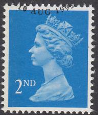 GB Stamps 1993 Machin Definitive 2nd Bright Blue, 1L/B, S/G 1451aEb, VFU