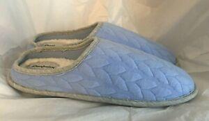 Dearfoams Women's Slippers Mules Blue Quilted Fabric Memory Foam Size XL 11-12