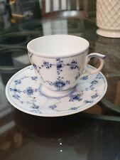"Royal Copenhagen Denmark ""Fluted"" Blue & White Cup/Saucer #298 1St Q"