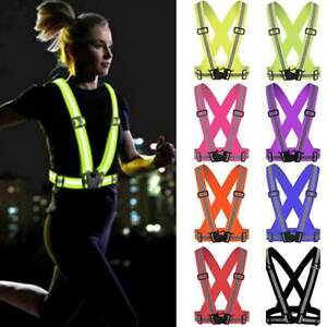 Hi Viz Vest High Safety Unisex Visibility Reflective Belt Joggers Cycling Strap~