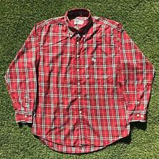90s Vintage BURBERRY Mens Shirt Medium Red Nova Plaid Button Down