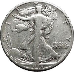1945 WALKING LIBERTY Half Dollar Bald Eagle United States Silver Coin i44702