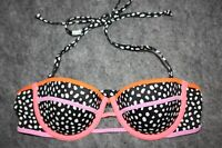 Victorias Secret Midi Beach Bandeau Bikini Swim Top Black Polka Dot 34A