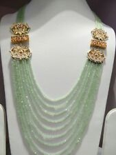 Babosa Sakhi Long Kundan Necklace Tea Green Bead String Bollywood Indian Jewelry