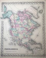 Antique 1855 North America Continental Map Hand-Colored from Colton's Atlas