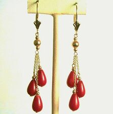 14k solid yellow gold natural teardrop Red Coral earrings leverback